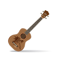 Vector illustration of hawaiian guitar ukulele isolated on white background.