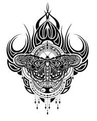 Butterfly tattoo in geometrical style. Beautiful butterfly boho