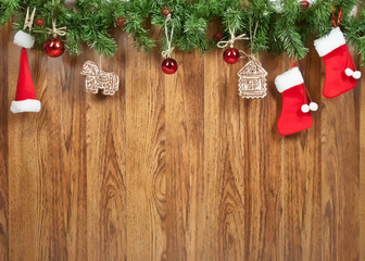 Christmas decoration on the wooden wall. Illustration.