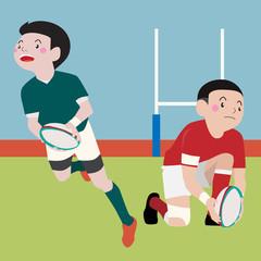 Rugby athletic sport vector cartoon illustration set