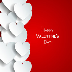 Happy Valentine Day greeting card with hearts, vector illustration of loving hearts