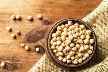 Portion of Chick Peas in wooden bowl