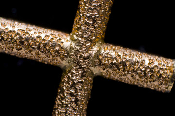 Gold Cross with Pitted finish