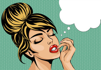 Pop art comic style woman with close eyes dreaming, vector