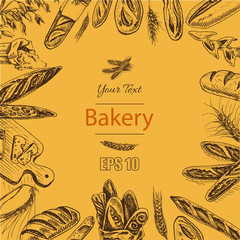 Vector illustration sketch - bakery. loaf, baguette, bread. French bakery