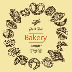 Vector illustration sketch - bakery. Croissant, buns, puffs. French bakery with fresh pastries.