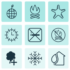 Set Of 9 Ecology Icons. Includes Fire Banned, Home, Snow And Other Symbols. Beautiful Design Elements.