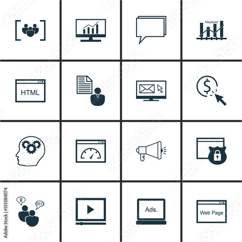 Set Of 16 Marketing Icons Includes Media Campaign Newsletter