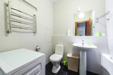 The interior of a modern bathroom