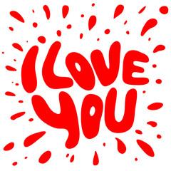 Words I Love you shaped