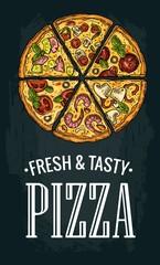 Vertical poster slice pizza Pepperoni, Hawaiian, Margherita, Mexican, Seafood, Capricciosa.