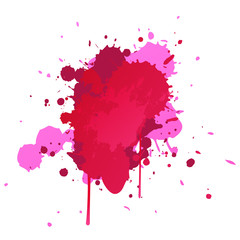 Vector. pink watercolor blots isolated on white background.  blot for your design.