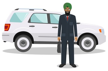 Indian businessman standing near the car on white background in flat style. Business concept. Flat design people character. Vector illustration.