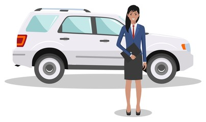 Businesswoman standing near the car on white background in flat style. Business concept. Detailed illustration of automobile and woman. Flat design people character. Vector illustration.