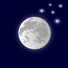 Grey Moon.The stars in the dark sky. Vector illustration