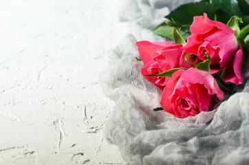 Pink roses bouquet over white background. Top view with copy space