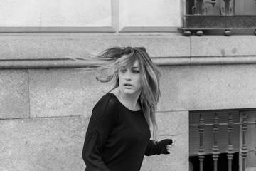 frightened woman running away