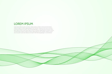 Vector abstract wavy green background.