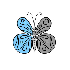 Decorative butterfly, graphic style, hand drawn, black and white isolated vector