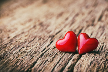 Love  -  Valentines Day Background  -  Two hearts on rustic wood