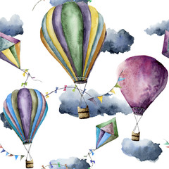Watercolor pattern with hot air balloons and kites. Hand drawn vintage kite, air balloons with flags garlands, clouds and retro design. Illustrations isolated on white background