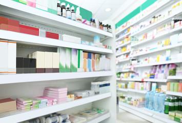 Fotobehang Apotheek Various products on shelves at store