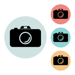 camera icon isolated vector sign symbol, on blue, red, yellow background.Tourism elements icons. Can be used in logo, UI and web design