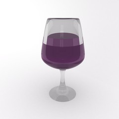 Wine glass over white background
