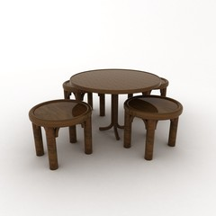 Table and stools over white background
