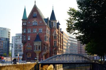Speicherstadt, historical center of Hamburg at sunset