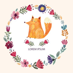 Illustration with cute fox and floral wreath