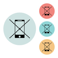 No cell phone icon isolated vector sign symbol, on blue, red, yellow background.Tourism elements icons. Can be used in logo, UI and web design