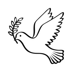 Flying dove holding an olive branch as a sign of peace line art vector icon for apps and websites