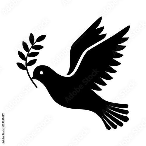 flying dove holding an olive branch as a sign of peace flat vector icon for apps