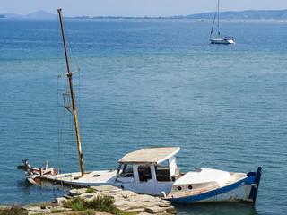 Sunk ruined boat at Lefkada island