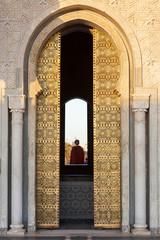 Gilded door of Mohammed V mausoleum in Rabat, Morocco