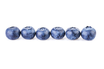blueberries in a row straight line isolated on white background