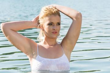 Pretty girl in water