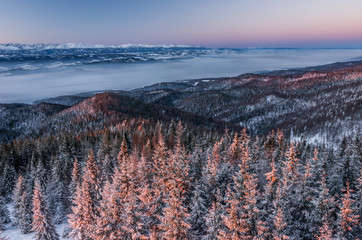 Winter landscape in Gorce mountains, cold morning, Poland