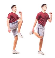 High Knees Butt Kicks. Young man doing sport exercise.