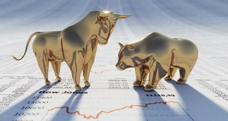 Goldener Bulle und Bär auf Dow Jones
