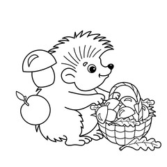 Coloring Page Outline Of cartoon hedgehog with basket of mushrooms. Summer gifts of nature. Coloring book for kids