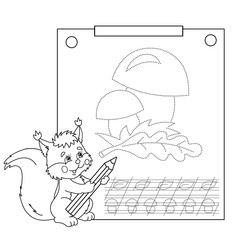 Connect the dots picture and coloring page. Tracing worksheet. Puzzle for kids. Cartoon Mushrooms. Coloring Page Outline Of squirrel with pencil. Coloring book for children.