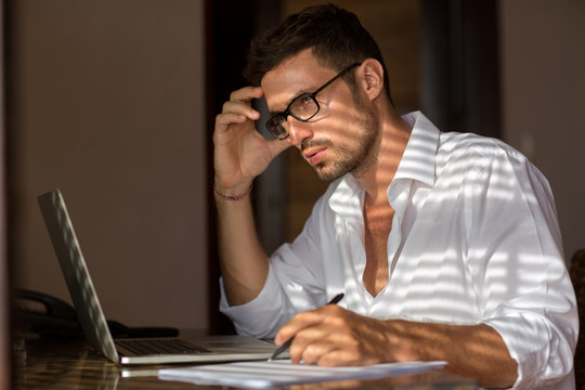 Pensive man working