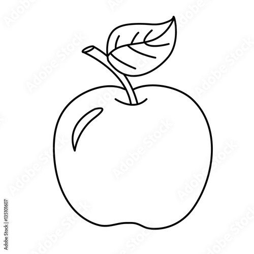 Coloring page outline of cartoon apple fruits coloring book for kids
