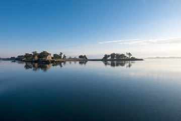 Peaceful view of the Island of Arz in Bay of Morbihan, Brittany
