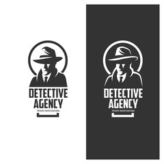 Detective agency emblem with abstract man head in hat. Vintage vector illustration.