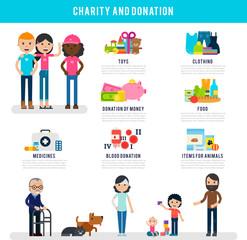 Human Volunteers Flat Infographic Template