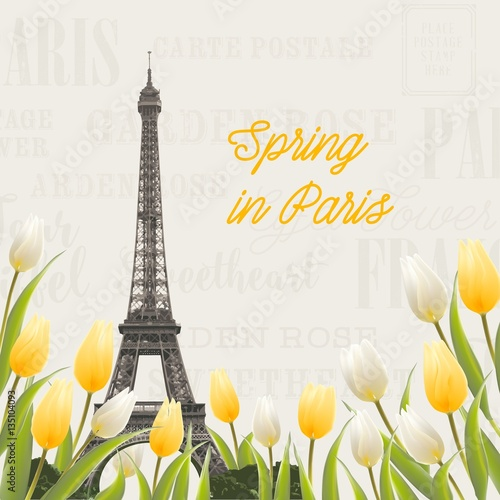 eiffel tower and tulip bouquet spring in paris sign tulip bouquet