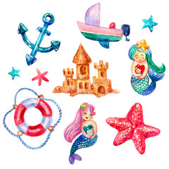 Cartoon Watercolor Set of watercolor mermaid, lifebuoy, starfish, boat, anchor, star illustrations isolated on white background. Colorful hand drawn vintage illustration. Perfect for kids marine style
